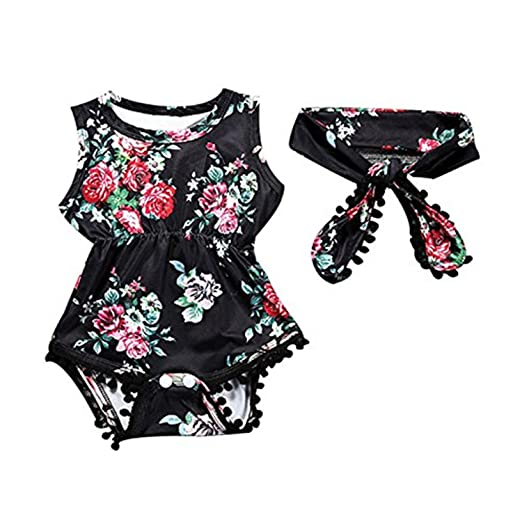 a5c9ef17e7b Image Unavailable. Image not available for. Color  pinnacleT1 Baby Summer Bodysuit  Baby Girl Sleeveless Tassel Printed Romper ...