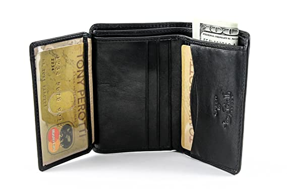 d5527fd9b429ec Tony Perotti Mens Italian Cow Leather Front Pocket Vertical Bifold Wallet  with ID Window Flap in