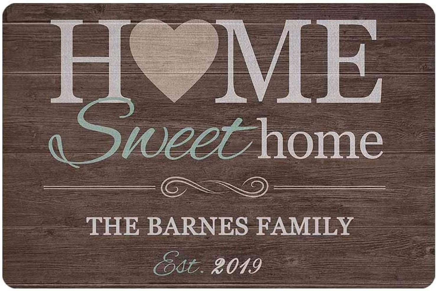 aianhe Personalized Sweet Home Metal and Wood Sign Custom Family Name Home Wall Decor Indoor Outdoor Home Plaque