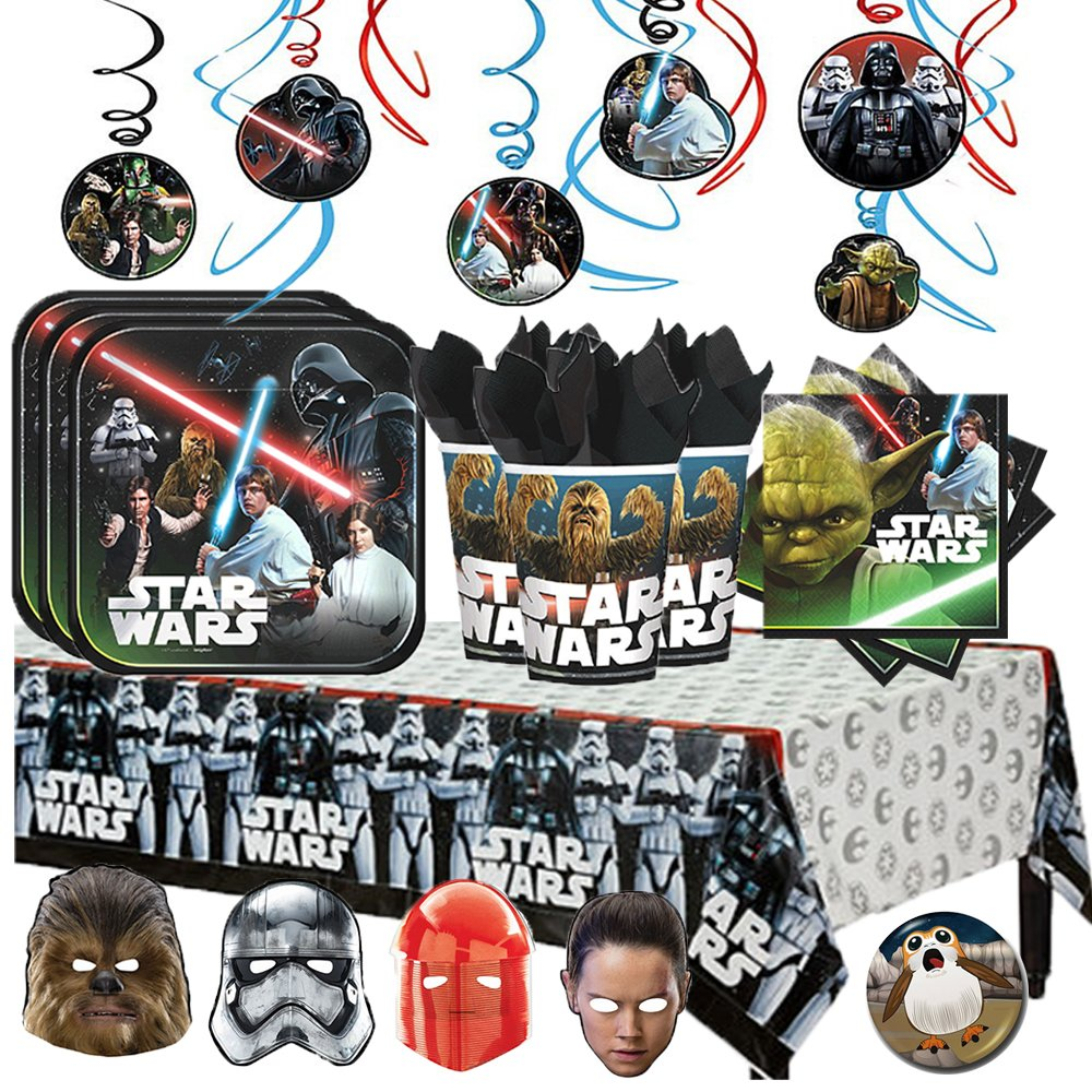 Star Wars Classic MEGA Deluxe Birthday Party Supply Pack for 16 with Plates, Napkins,Cups, Tablecover, Hanging Swirl Decorations, Star Wars Themed Masks, and a Porg Inspired Pin!