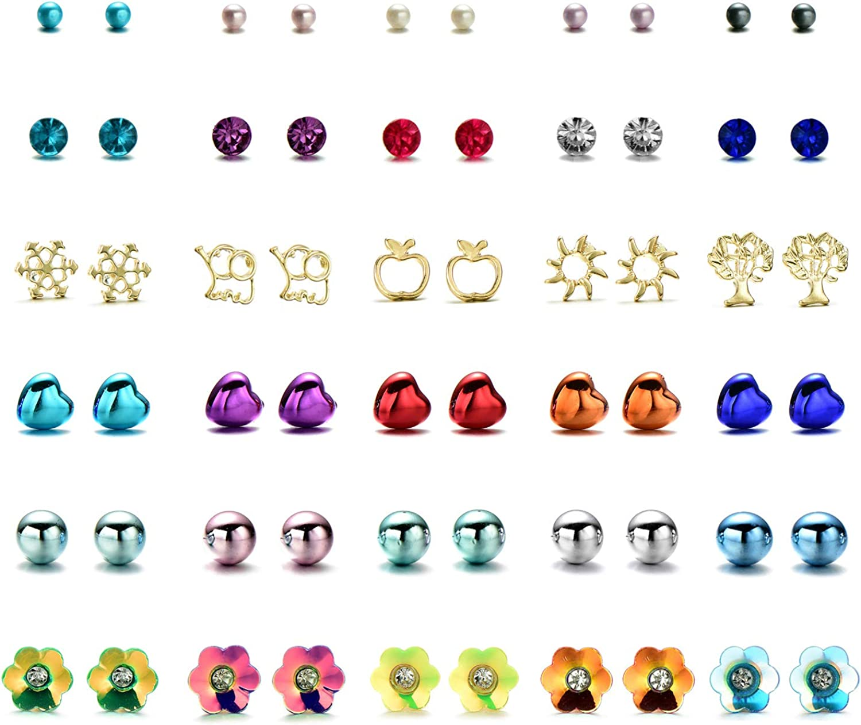 ONNEA Small Stud Earrings Set for Gilrs Women Pearl Flower Heart