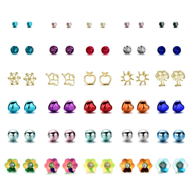 Onnea Lot de Set Boucle D'oreille pour Enfant Fille Perle Fleur Coeur Bensoco E-0491-UK