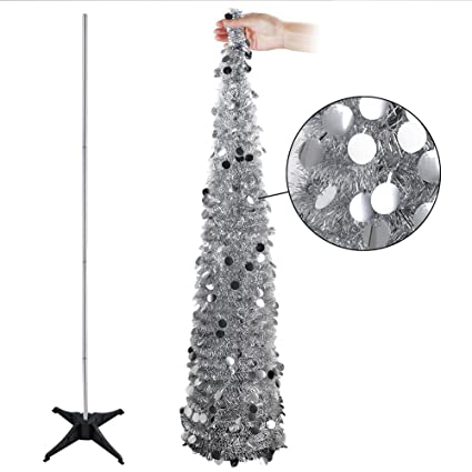 aytai 5ft collapsible pop up christmas tree silver tinsel coastal christmas tree for holiday xmas decorations