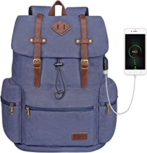 Modoker Canvas Leather Laptop Backpack Vintage Rucksack Bookbag for Women, School Backpack College Bag with USB Charging Port, Blue Fashion Vegan Daypack Fits 16 Inch Notebook