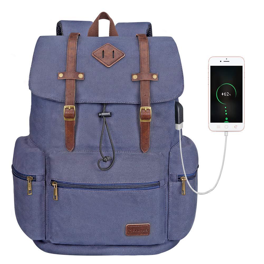 Modoker Vintage Travel Laptop Backpack Canvas Leather Computer Bookbag with USB Port, Outdoor Backpack College School Bag Vegan Leather Rucksack Daypack for Men Women Fits 15.6 Inch Notebook, Blue