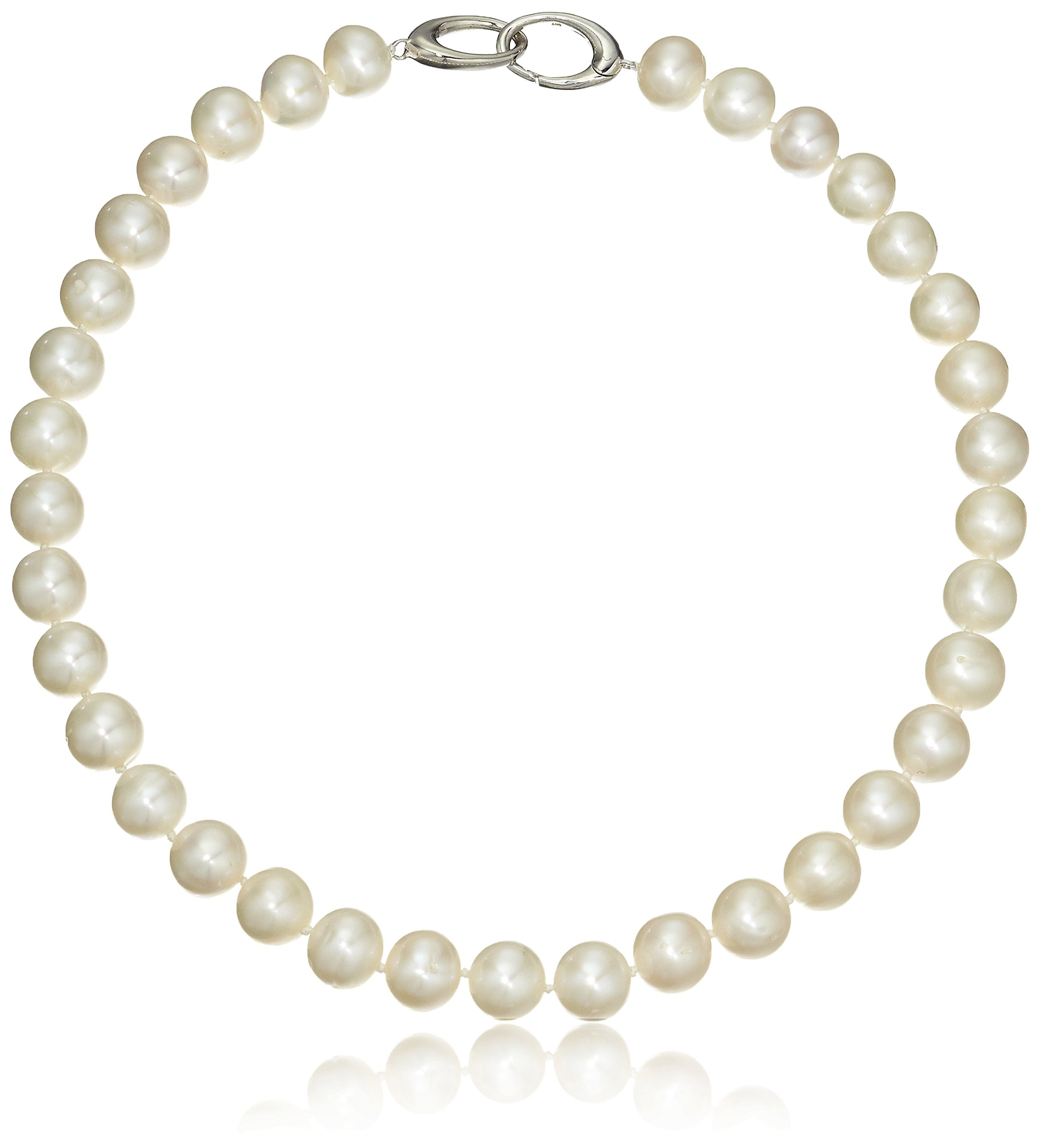 Sterling Silver 12-12.5mm Oval-Interlock Clasp White Freshwater Cultured Pearl Strand, 18''