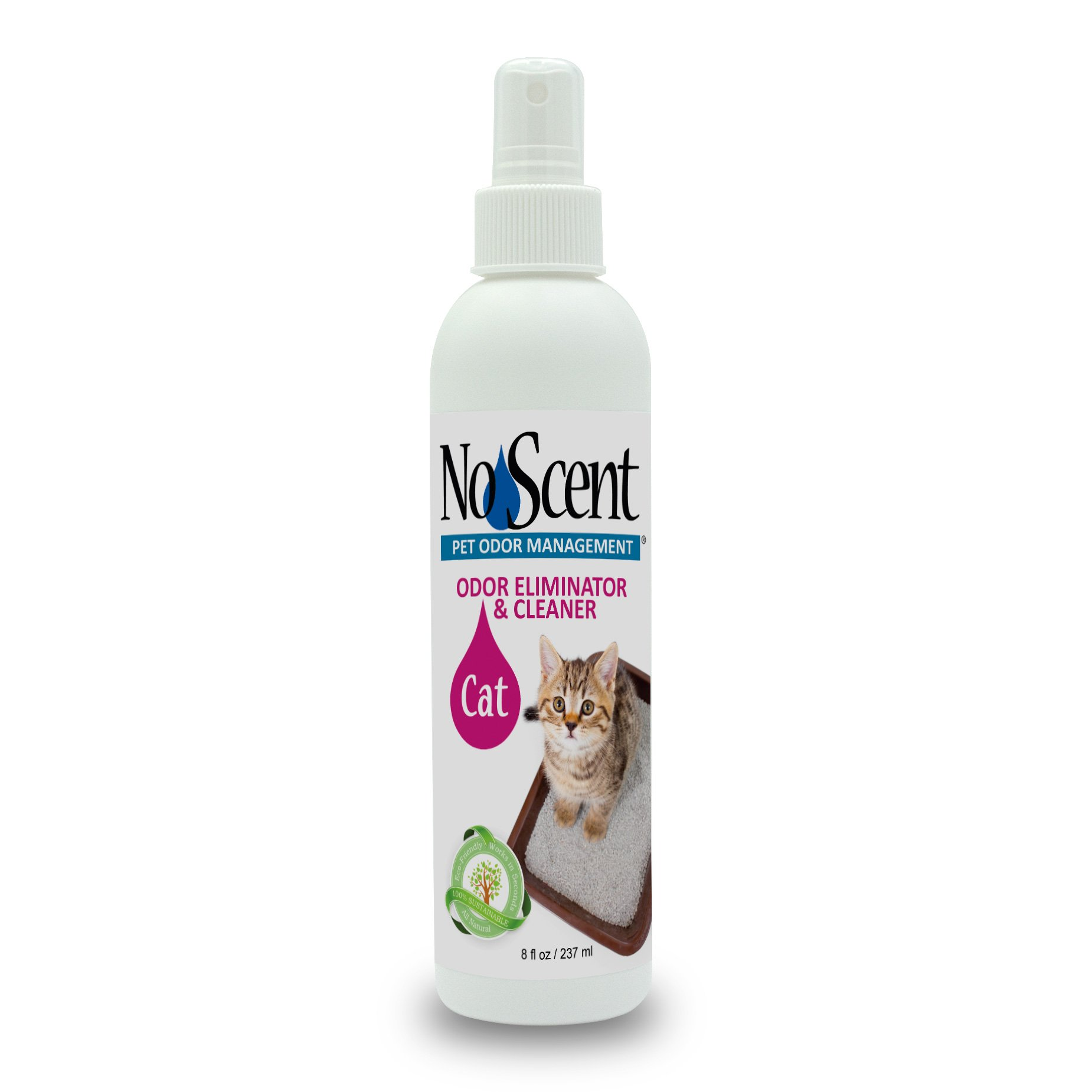 No Scent Cat - Professional Pet Urine Feces Odor Eliminator and Cleaner - Safe All Natural Probiotic & Enzyme Formula Smell Remover for Litter Box Hardwood Carpet Floors and Upholstery (8 oz)