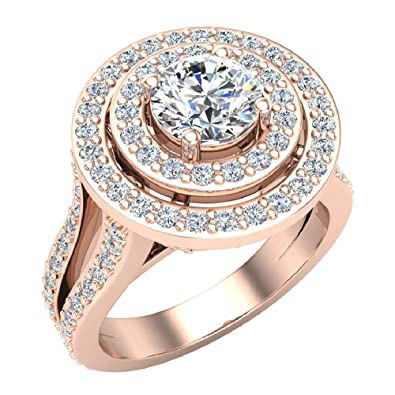 5472246b5308f Statement Round Diamond Double Halo Split Shank Engagement Ring 1.77 ...