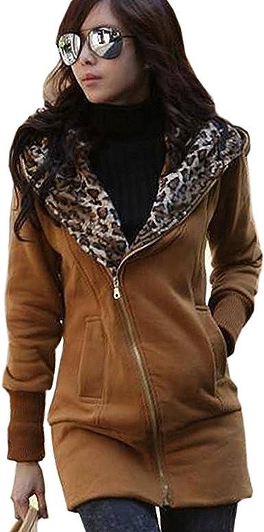 Minetom Mujer Otoño Invierno Capucha Chaqueta Leopardo Encapuchado Largo Abrigos Camisa De Jersey: Amazon.es: Ropa y accesorios