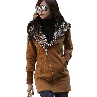 Minetom Mujer Otoño Invierno Capucha Chaqueta Leopardo Encapuchado Largo Abrigos Camisa De Jersey