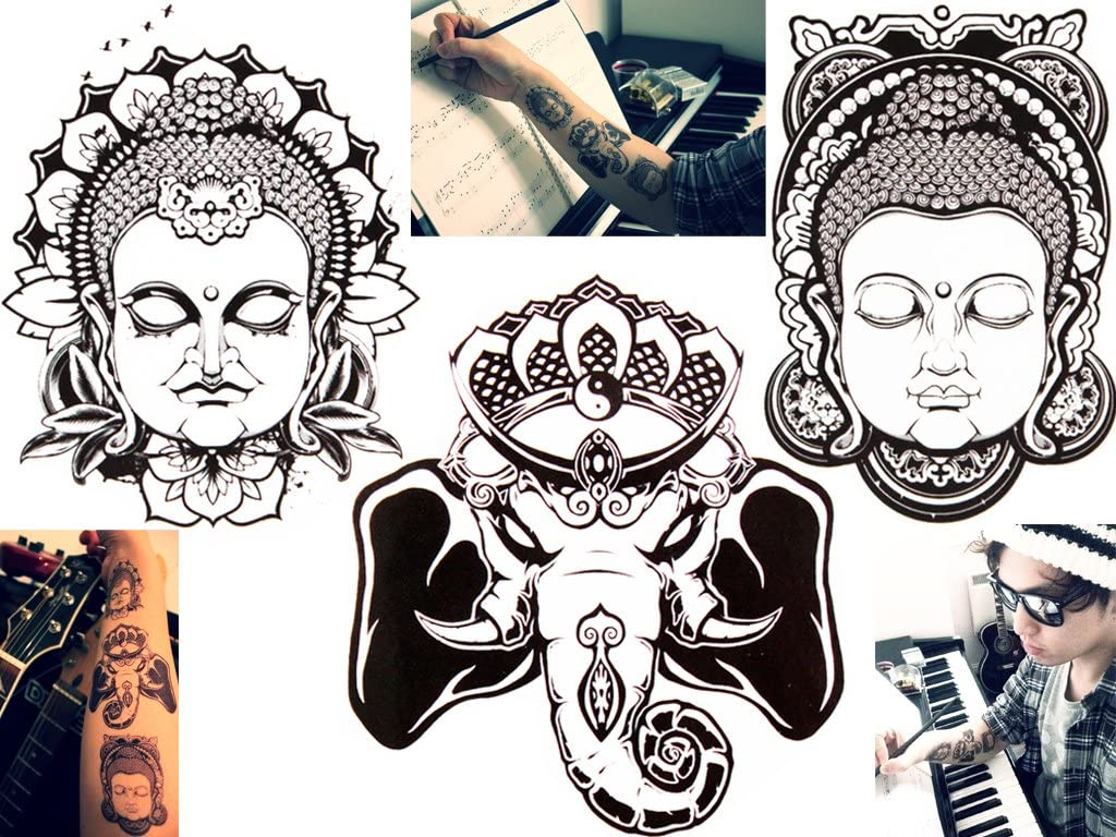 Novu Ink tatuaje temporalmente impermeable dibujo Buda Faces and ...
