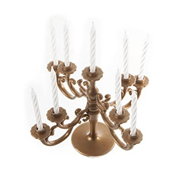 Silver Candelabra Cake Topper /& Birthday Candle Set Unique 71155