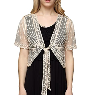 dfc76af16d Sheicon Women Lace Mesh Short Sleeve Cardigan Shrug Cover Up Summer Wrap  Shawls (XS,