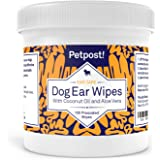 Petpost   Pet Ear Cleaner Wipes for Dogs and Cats - 100 Ultra Soft Cotton Pads in Coconut Oil Solution - Dog & Cat Ear Rinse