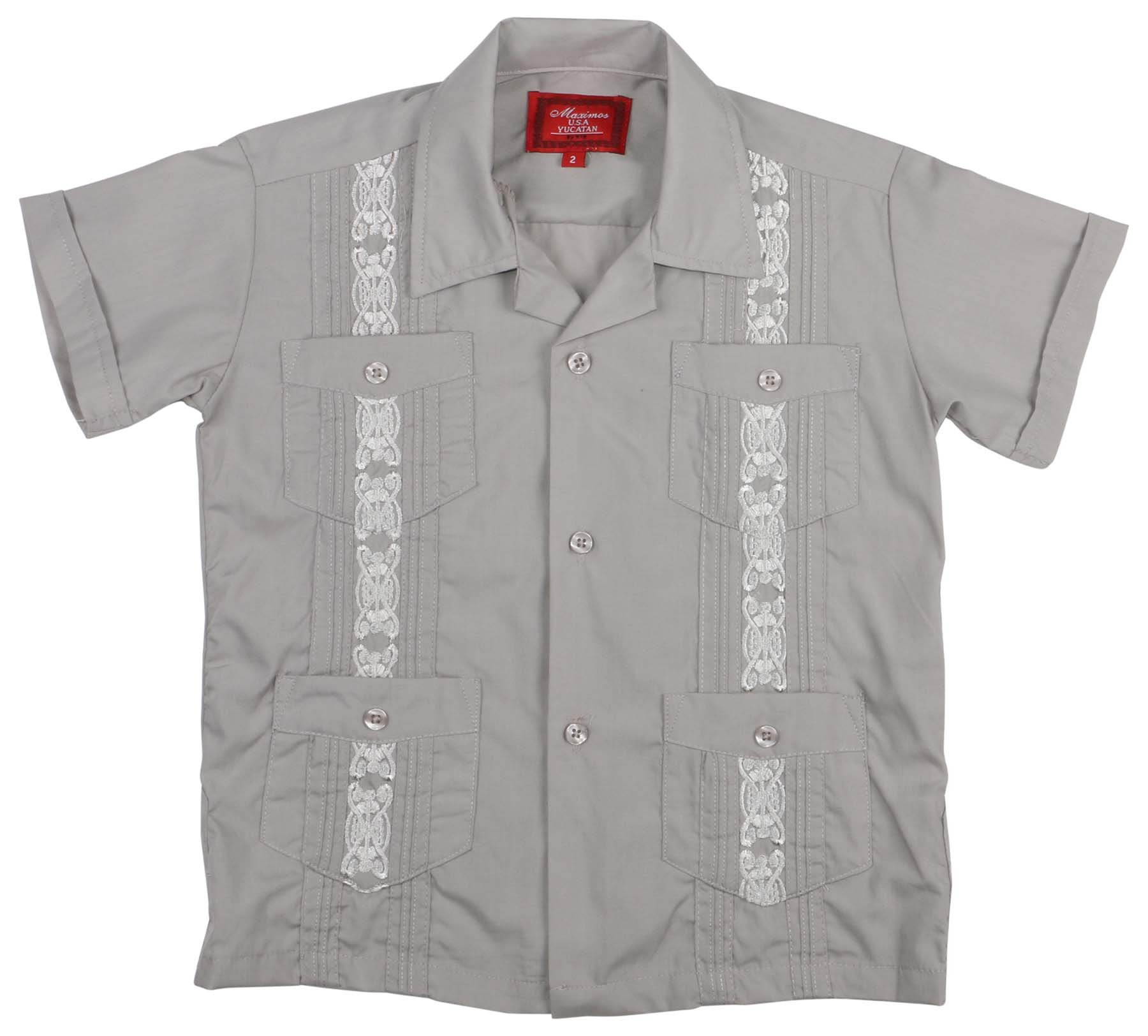 9 Crowns Essentials Boys' Guayabera Button Down Shirt-Grey-2