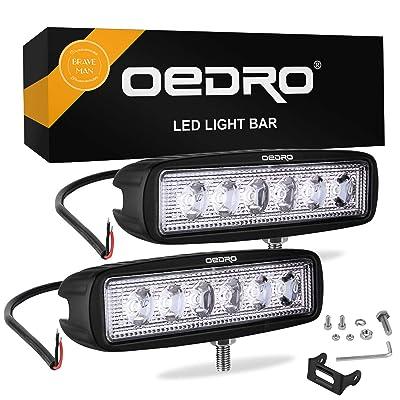 oEdRo LED Light Bar 2pcs 6 Inch 18W LED Work Light Off Road Lights Car Boat Lights Fog Driving Light Lamp Compatible for UTE SUV 4X4 4WD ATV Jeep 3 Years Warranty (Spot Fog Lamp): Automotive