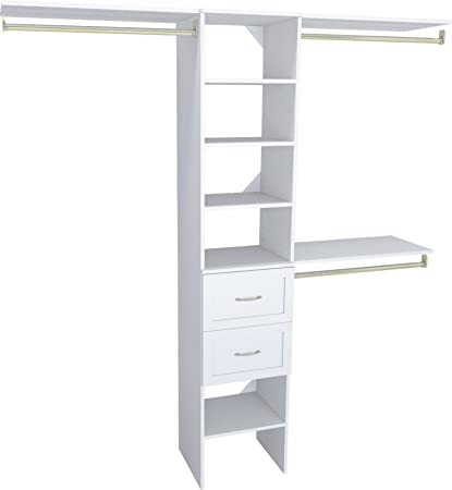 ClosetMaid 1952040 SuiteSymphony 16 Inch Closet Organizer With Shelves And  2 Drawers, Pure