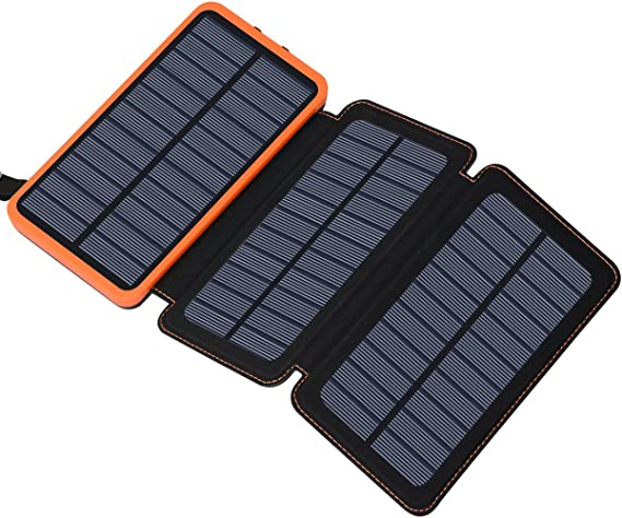 Amazon.com: Solar Charger 24000mAh, FEELLE Solar Power Bank with 2 ...