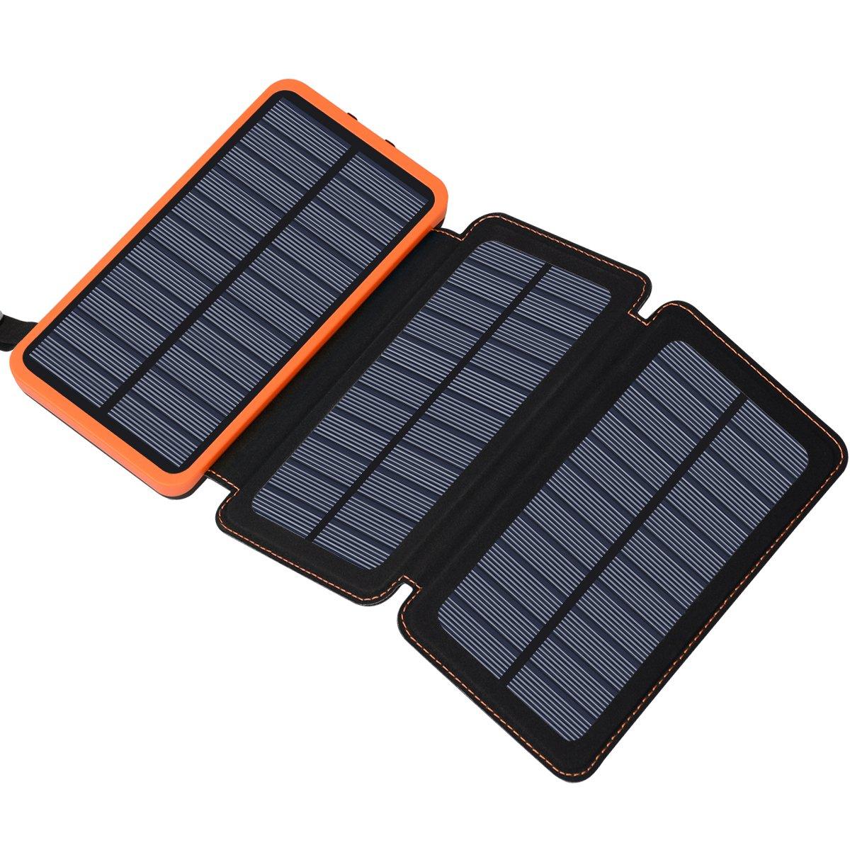 Chargeur solaire 24000mAh, banque d'alimentation solaire FEELLE avec 2 ports USB Batterie externe portable étanche compatible avec les smartphones, tablettes et plus
