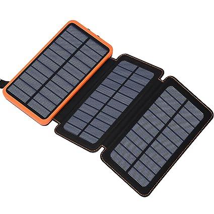 Amazon.com: Cargador solar de 24000 mAh, con 3 paneles ...