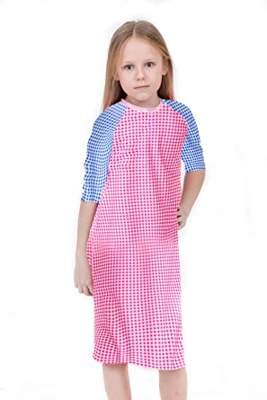 8c4efab97b Girl's Pink & Blue Gingham Swim Dress- Uv Sun Protective Swim Cover Up  (Small
