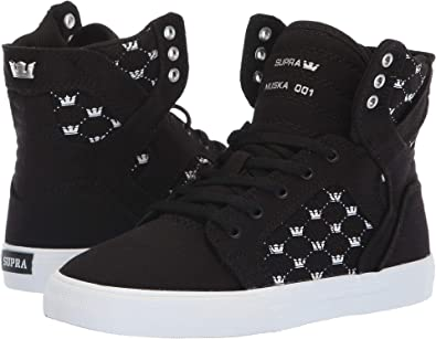 acd21cae7b9c Supra Kids Boy s Skytop (Little Kid Big Kid) Black White Crown