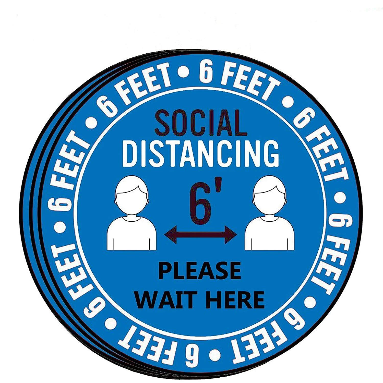 and Lab Pharmacy Bank Safety Floor Sign Marker Commercial Grade Anti-Slip Grocery 30x30CM for Crowd Control Guidance Nepdome Social Floor Decal Stand Decal 6 Foot Distance