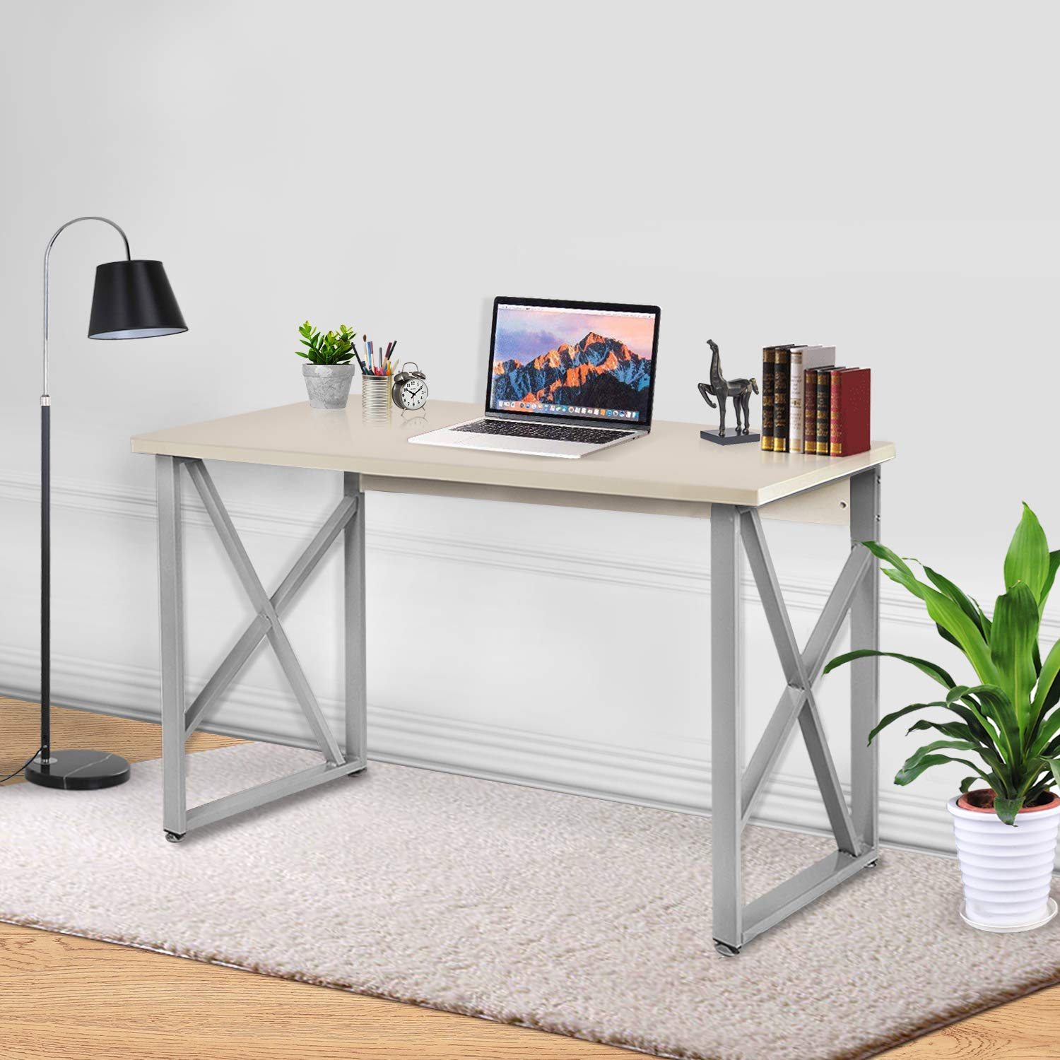 """Office Computer Desk, 47"""" Modern Simple Style PC Laptop Table Office Desk Workstation for home office,Writing Home Office Furniture, Wooden Particleboard Table -White"""