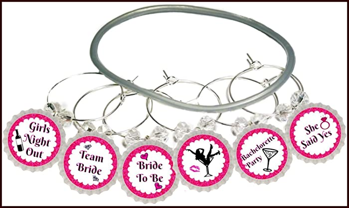 bachelorette party wine glass charms bachelorette party decorations supplies bridal shower decorations glass