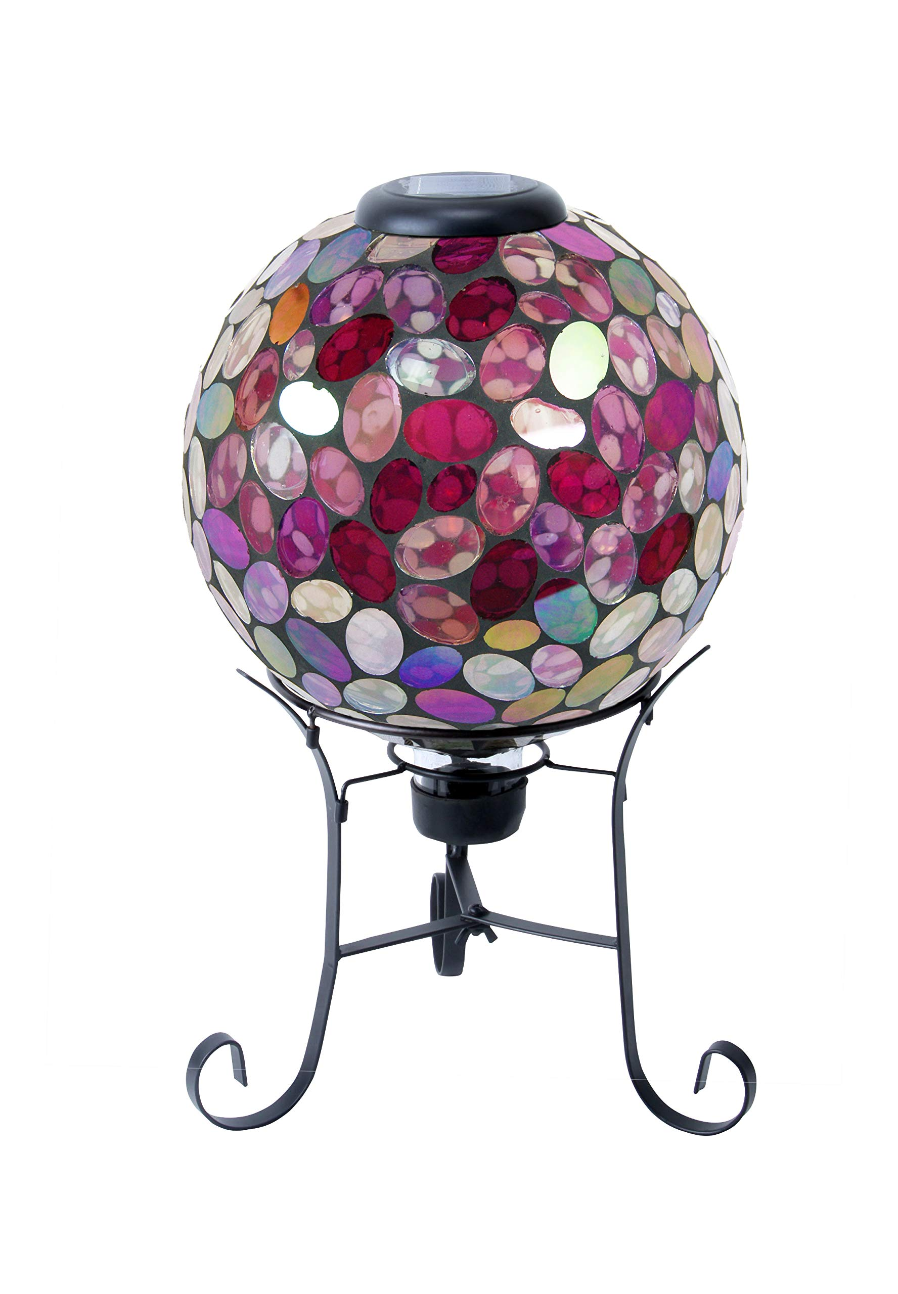 Alpine Corporation Solar Gazing Globe with LED Lights - Mosaic Sphere with Metal Stand - Outdoor Yard Art Decor - Violet - 10'' x 10'' x 17''