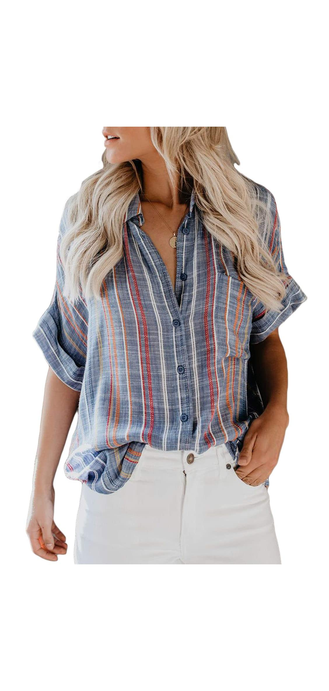 Womens Casual V Neck Striped Cuffed Sleeve Button Down