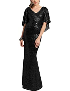 OYISHA Womens Long Elegant Evening Dresses Sequins Formal Dress Sleeve SQ30