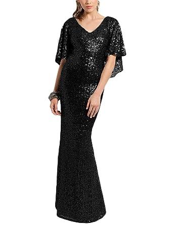 OYISHA Womens Long Elegant Evening Dresses Sequins Formal Dress Sleeve SQ30 Black 2