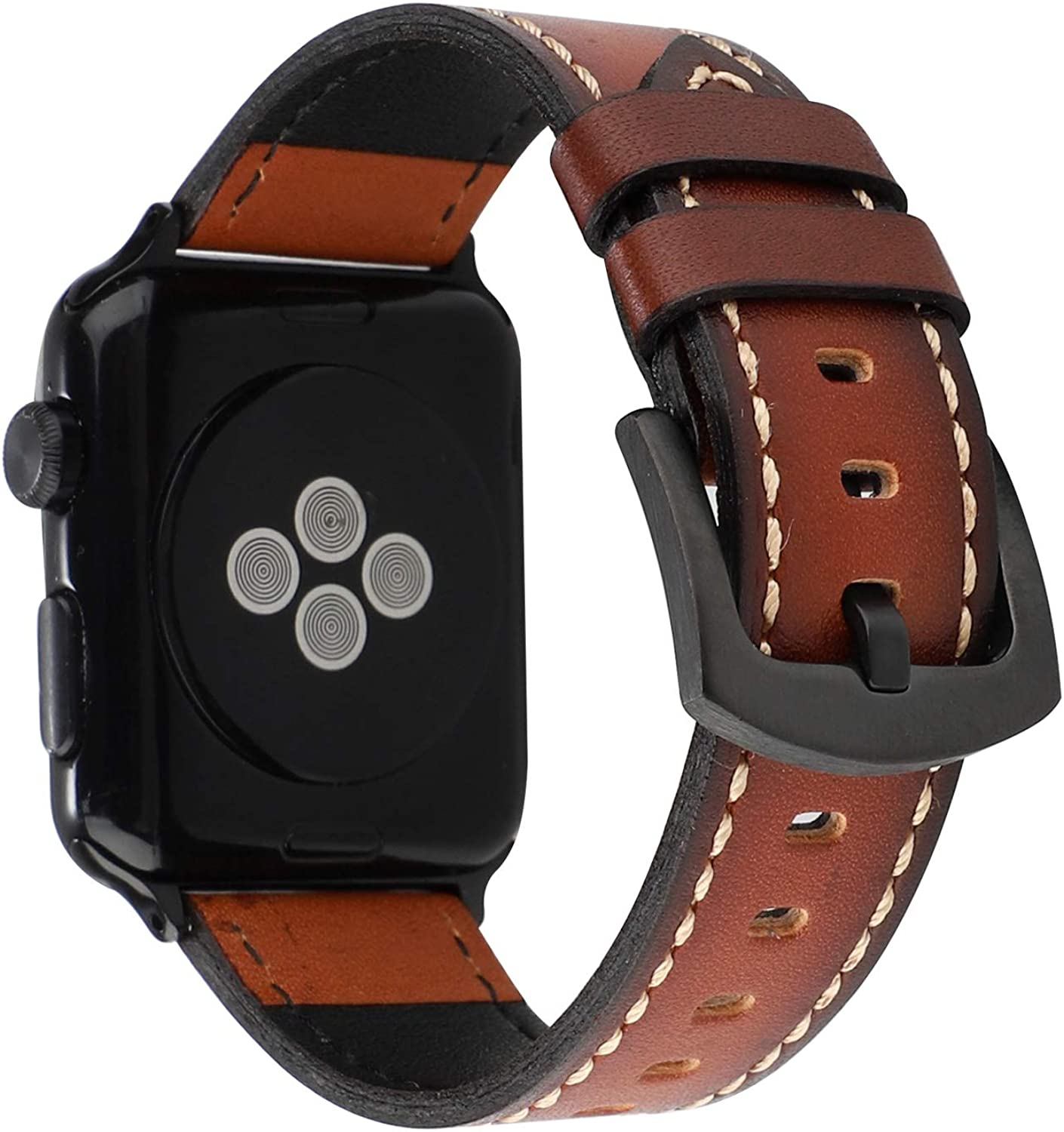 MeShow 44mm 42mm Handmade Vintage Calf Genuine Leather Strap Wrist Band with Secure Metal Clasp Buckle Compatible for Apple Watch Series SE 6 5 4 3 2 1 (Not fit for iWatch 40MM/38MM)
