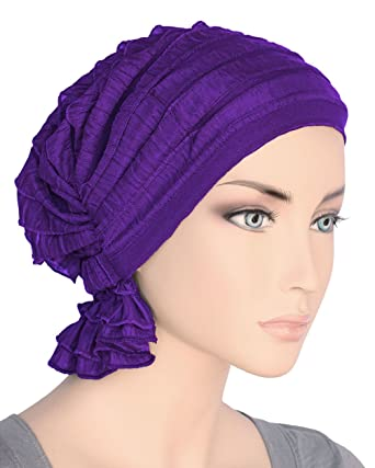 03de673f94f Abbey Cap Women s Chemo Hat Beanie Scarf Turban Headwear for Cancer Ruffle  Purple  Amazon.co.uk  Clothing