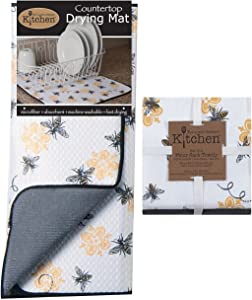 Kay Dee 3-Piece Kitchen Towel Set and Dish Drying Mat (Queen Bee Print),White