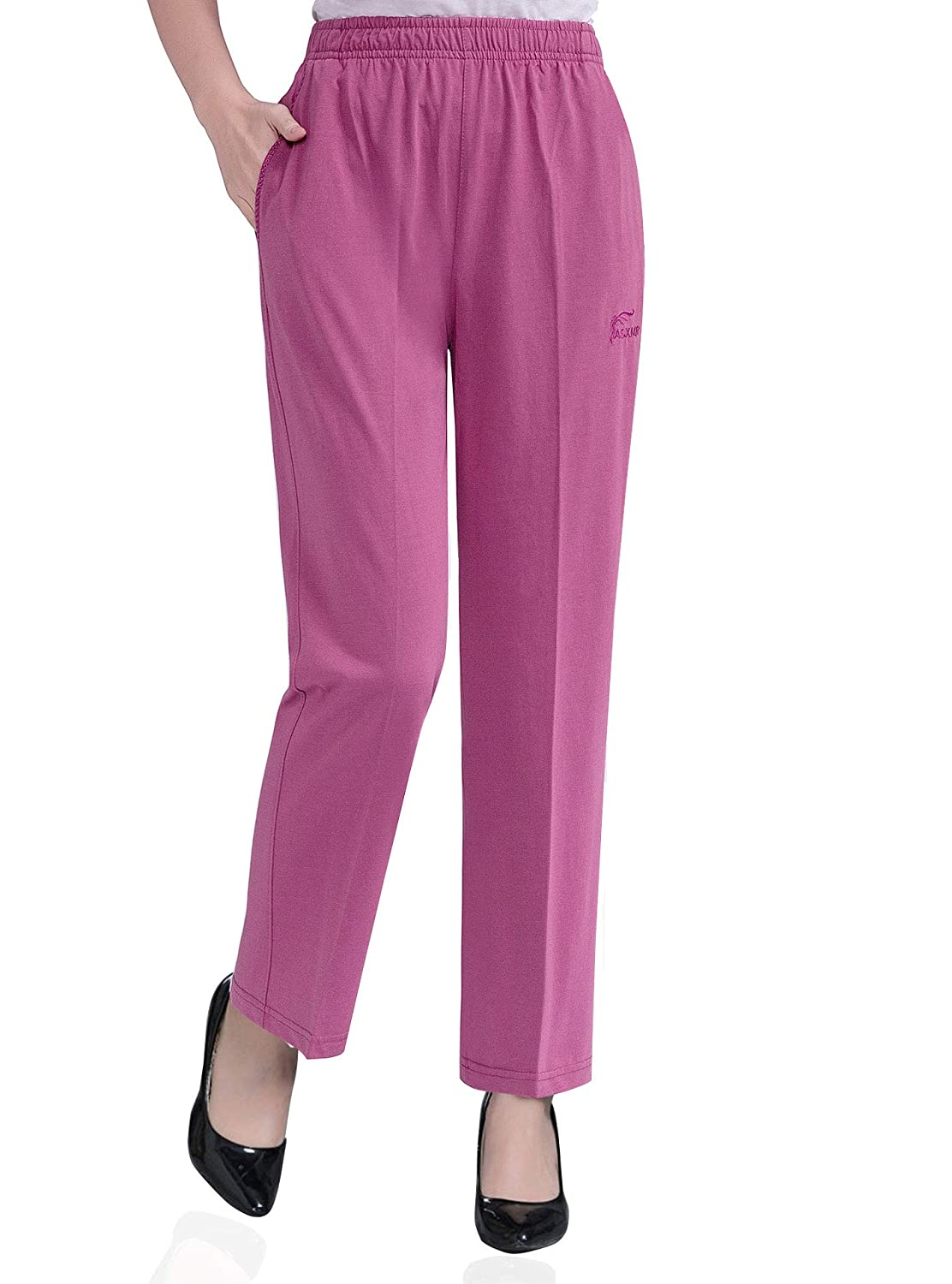 Soojun Womens Stretch Knit Pants Pull On Pants with Elastic Waist