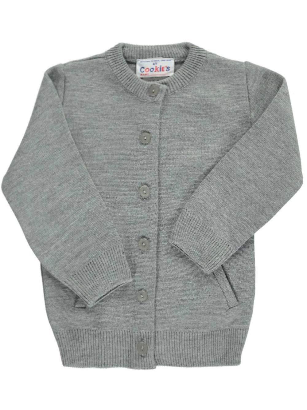 Cookie's Brand Big Girls' Crewneck Cardigan Sweater - Gray, 10 by Cookie's Kids (Image #1)