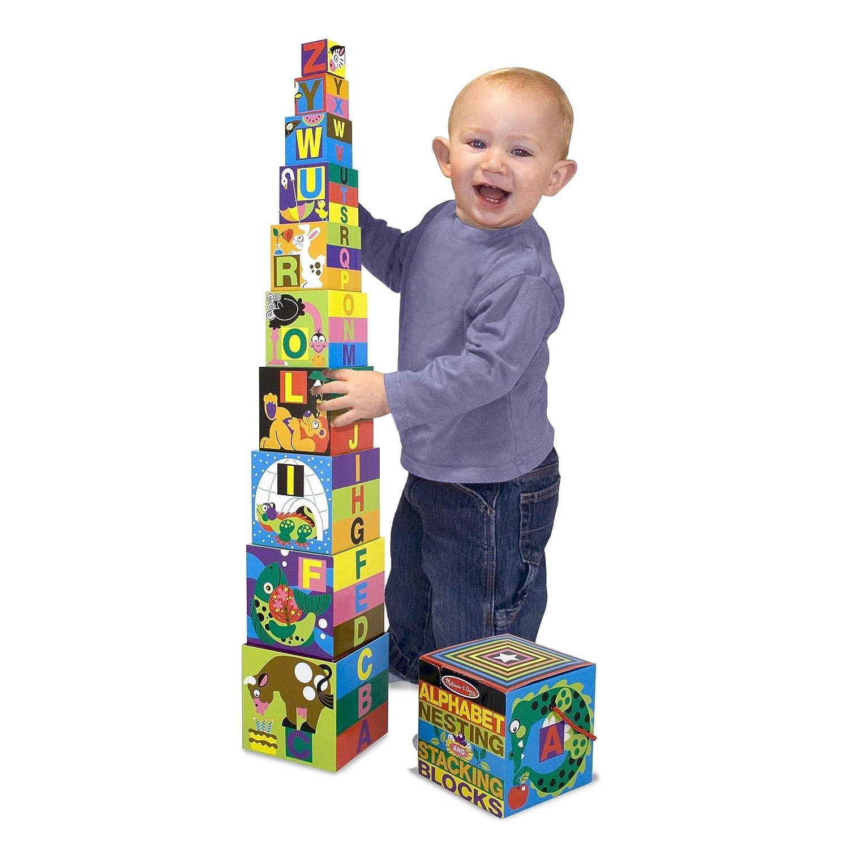 Melissa /& Doug Alphabet Nesting and Stacking Blocks Easy Storage Developmental Toys 10 Cardboard Nesting Boxes 14.986 cm H /× 14.986 cm W /× 14.986 cm L Durable Construction