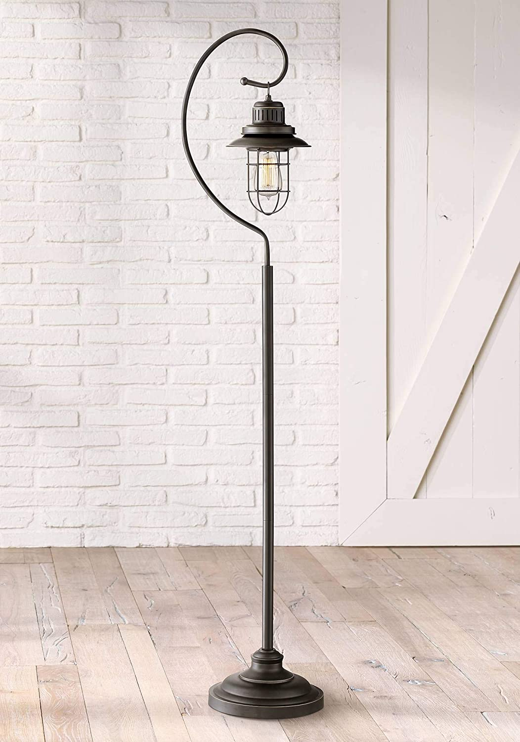 Ulysses Industrial Lantern Floor Lamp Oil Rubbed Bronze Metal Cage Dimmable LED Edison Bulb for Living Room Reading – Franklin Iron Works