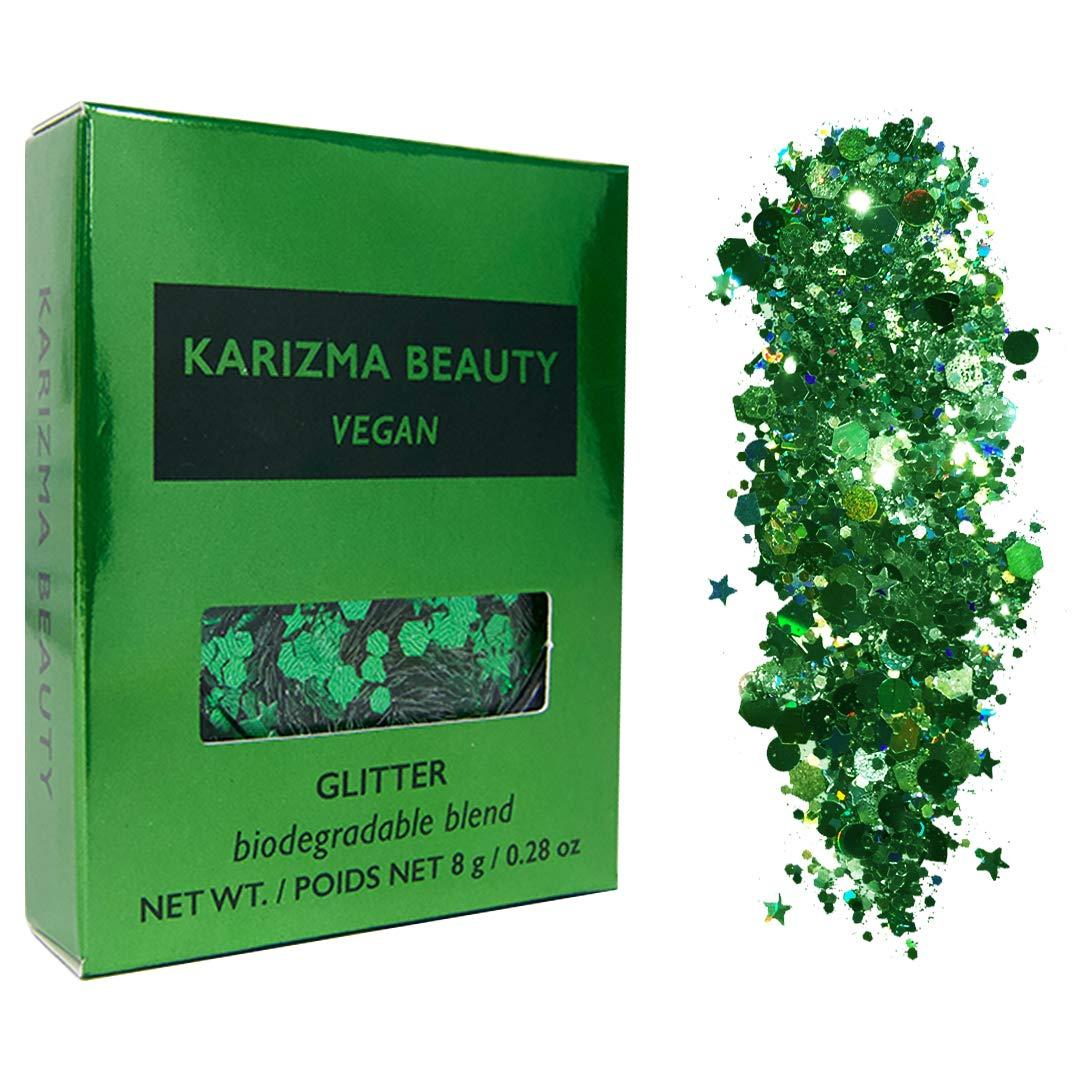 Vegan Biodegradable Chunky Glitter // Karizma Beauty Green Bio Glitter Eco Glitter Face Glitter Festival Chunky 8g
