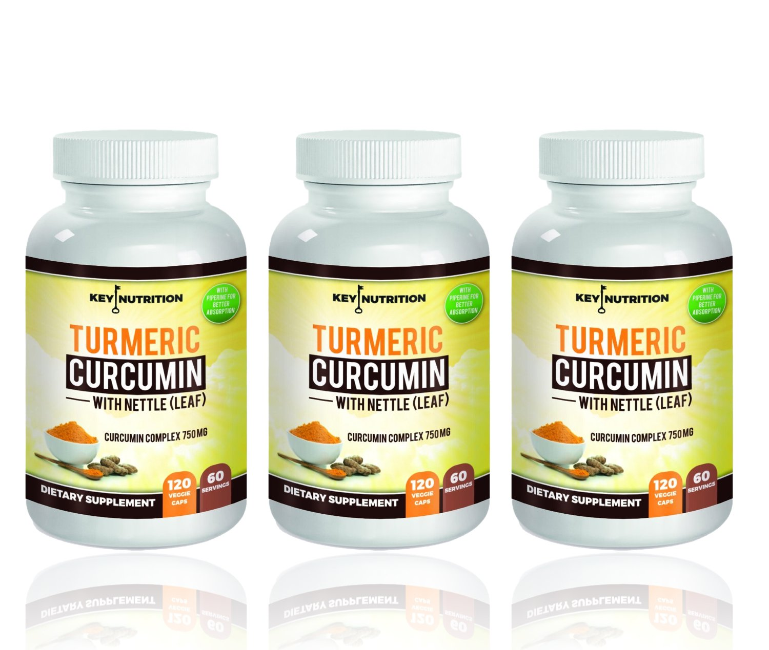 Turmeric Curcumin 1500mg 120 Veggie Capsules- with Piperine (Black Pepper) Extract (Pack of 3 Bottles)