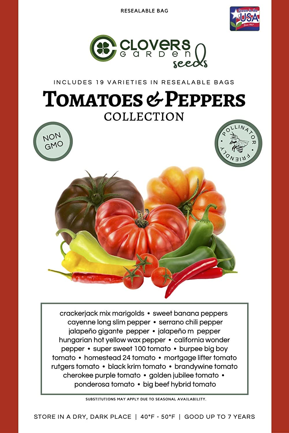 Clovers Garden Tomatoes and Peppers Seed Kit – 19 Varieties, 100% Non GMO Open Pollinated Heirloom Seed Vault for Planting – USA Grown and Hand Packed Vegetable Seeds for Home or Survival Garden