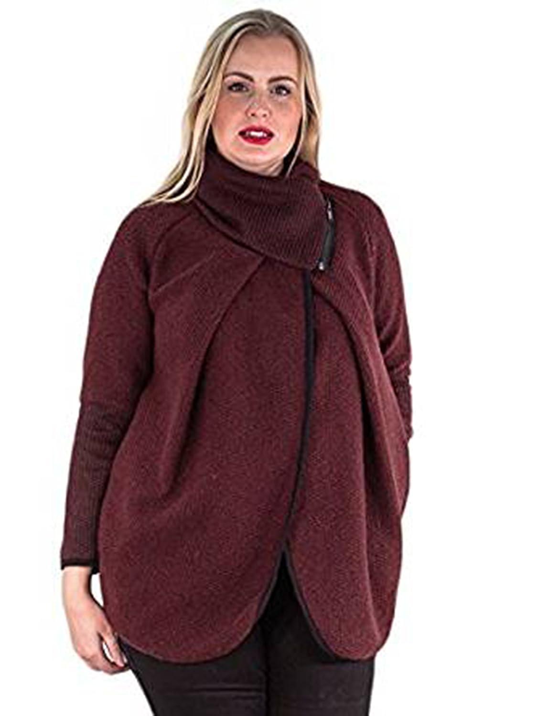 Friendz Trendz-Womens Italian Coatigan Wool Zip Long Sleeve Coat Cardigan Poncho Cape