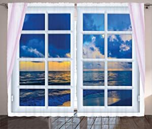 Ambesonne Landscape Curtains, Sunset on The Sea Scenery from Window with Open Curtains Horizon Silence Relaxing, Living Room Bedroom Window Drapes 2 Panel Set, 108
