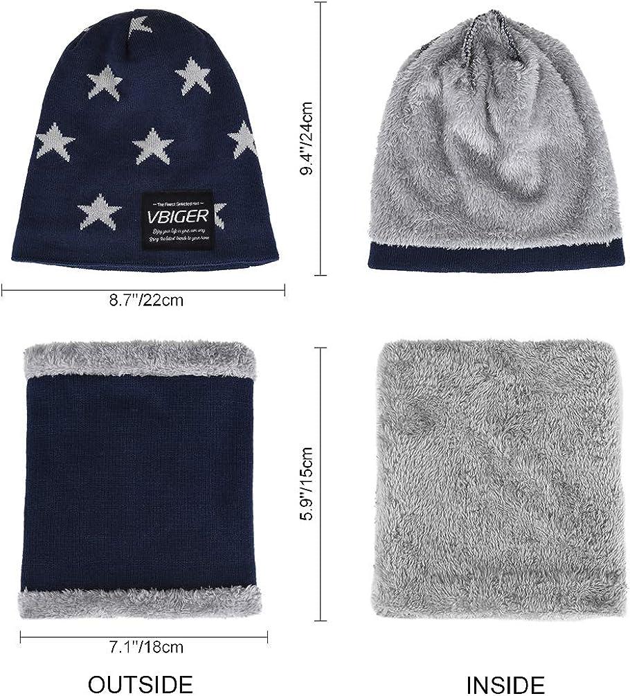 VBIGER Kids Warm Cappello a cuffia lavorato a maglia e set di sciarpe circolari