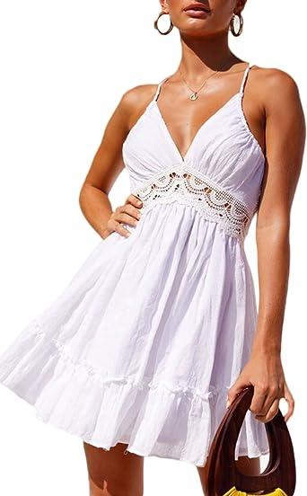 Donna Vestito con Pizzo Fantasia Senza Schienale Corto Abito da Sera Partito Banchetto Senza Maniche Mare Spiaggia Copricostume Mini Vestitino