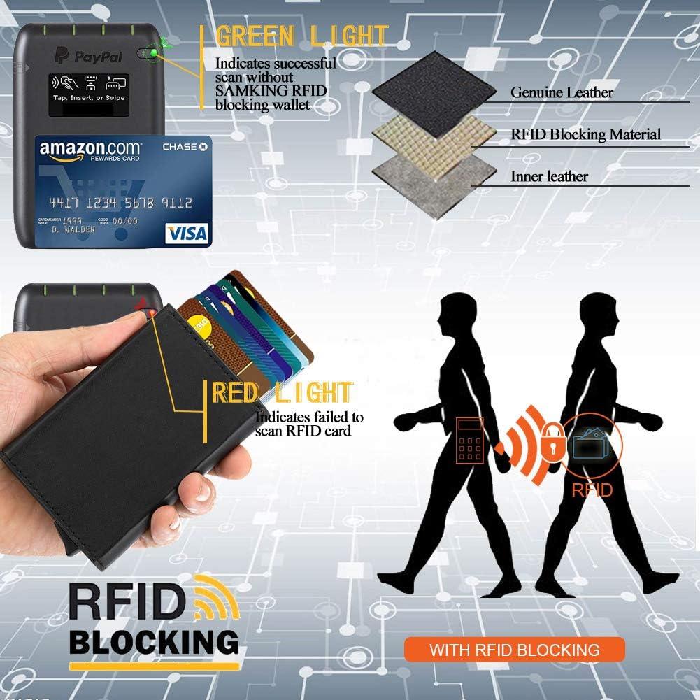 Slim-Wallet Mini-Geldb/örse f/ür Herren und Damen SAMKING Leder Geldbeutel Metall Kartenetui mit RFID Schutz Blau Kreditkartenetui mit Geldklammer und M/ünzfach