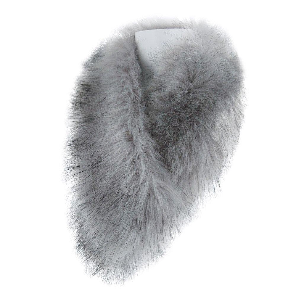 LETHMIK Women's Faux Fur Collar Fluffy Winter Scarf Neck Wrap for Winter Coat Silver Gray