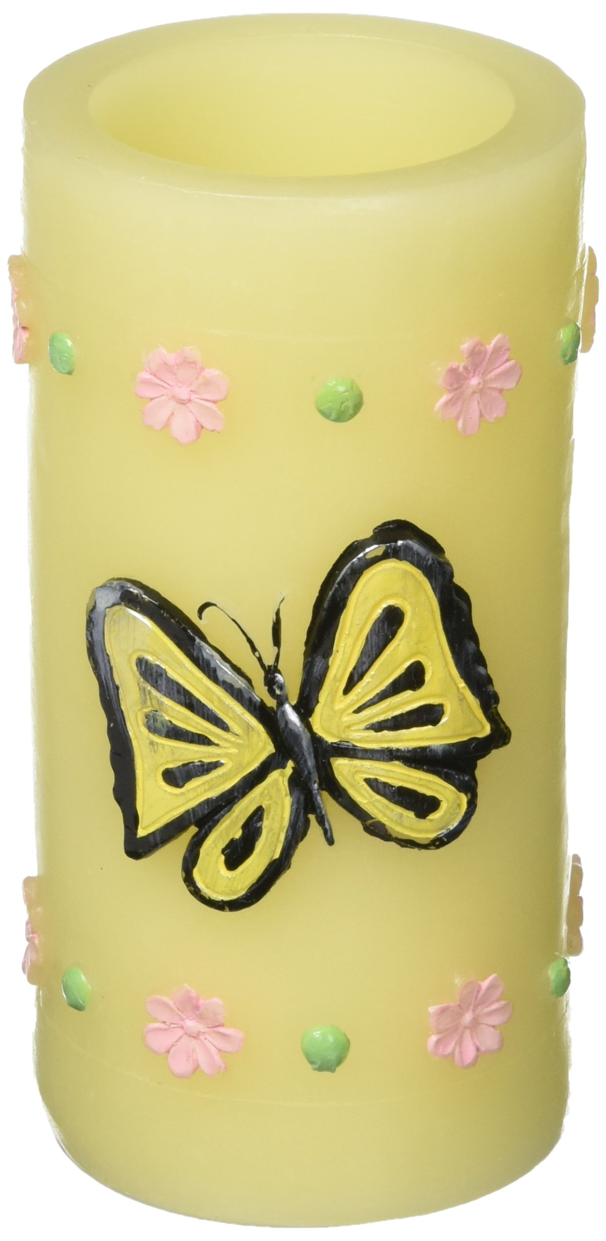 GiveU Battery Operated Butterfly Flameless Candle with Timer, 3'' X 6'', Yellow